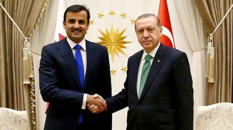 الرئيس التركي رجب طيب أردوغان وأمير قطر الشيخ تميم بن حمد آل ثاني (أرشيف)