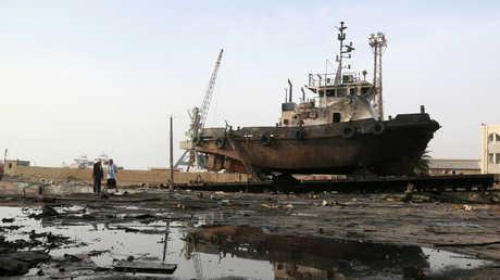 آثار قصف التحالف العربي على الحديدة