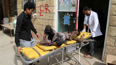 أحد الأطفال المصابين جراء غارة للتحالف على محافظة صعدة اليمنية