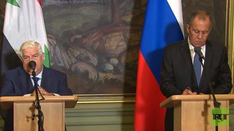 مؤتمر صحفي مشترك لوزيري خارجية روسيا وسوريا من موسكو