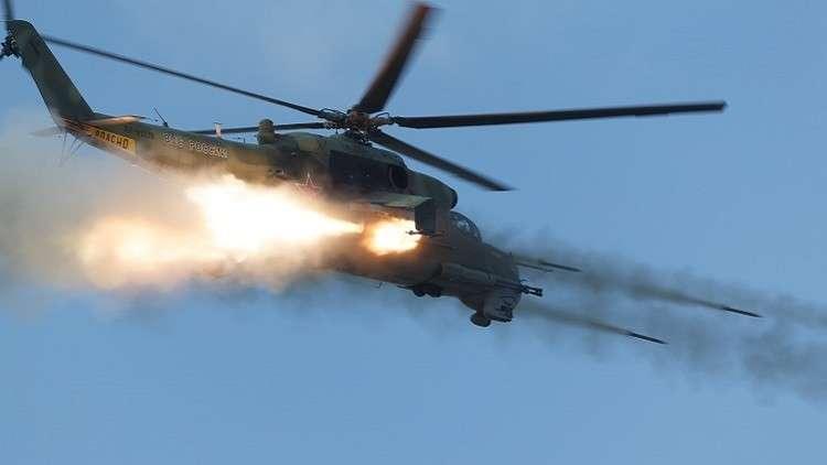 صاروخ غير موجه ينطلق من مروحية روسية