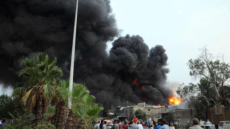 حريق ضخم في حي الميدان بدمشق
