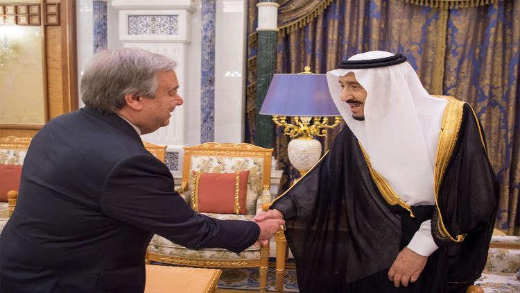 العاهل السعودي يستقبل غوتيريش في جدة