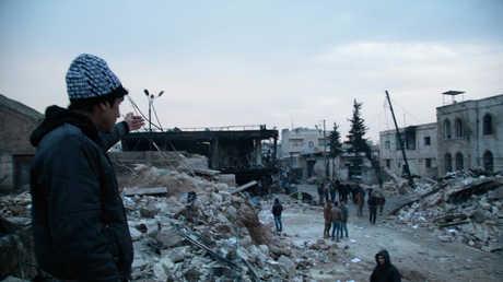 مشاهد الدمار في شوارع مدينة حلب السورية - صورة أرشيفية