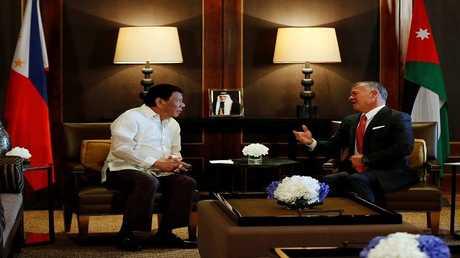 العاهل الأردني، عبدالله الثاني ، والرئيس الفلبيني، رودريغو دوتيرتي