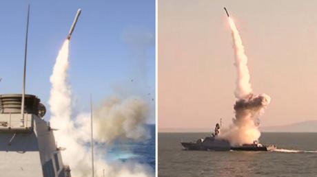 بارجات روسية تطلق صواريخ كاليبر الفائقة الدقة