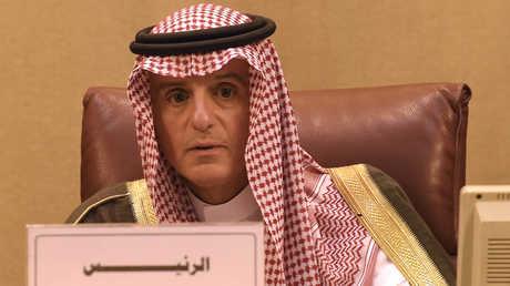 وزير الخارجية السعودي، عادل الجبي، خلال اجتماع مجلس الجامعة العربية على مستوى الوزراء في الدورة الـ150 بمقر المنظمة في القاهرة
