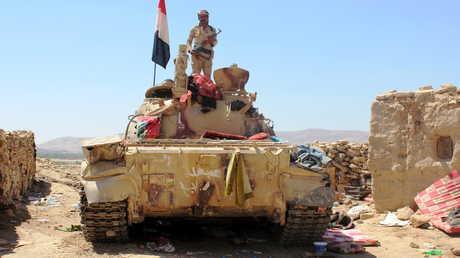 دبابة تابعة لقوات الحكومة اليمنية