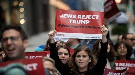 مظاهرة ليهود أمريكيين مناهضين لترامب قبيل الانتخابات الرئاسية عام 2016
