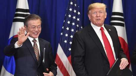 لقاء الرئيس الأمريكي دونالد ترامب مع رئيس كوريا الجنوبية مون جاي إن