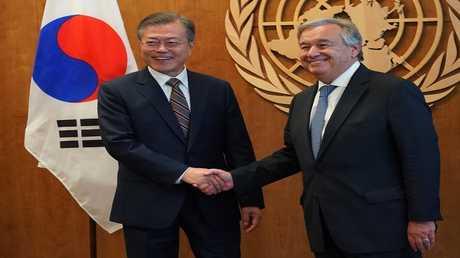 الرئيس الكوري الجنوبي مون جيه وأمين عام الأمم المتحدة أنطونيو غوتيريش