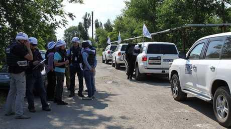 قافلة لمراقبي منظمة الأمن والتعاون في أوروبا في دونباس شرقي أـوكرانيا (صورة أرشيفية)