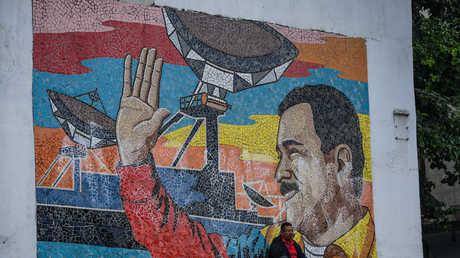 صورة من الفسيفساء للرئيس الفنزويلي نيكولاس مادورو في العاصمة كاراكاس