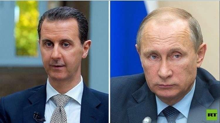 الأسد يهنئ بوتين بعيد ميلاده الـ66