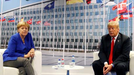 أرشيف – الرئيس الأمريكي دونالد ترامب والمستشارة الألمانية أنغيلا ميركل