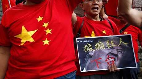 مظاهرة خارج القنصلية الأمريكية في هونغ كونغ، الصين 1 أكتوبر 2018