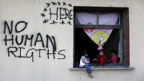 مخيم مؤقت للاجئين والمهاجرين على الحدود اليونانية المقدونية، اليونان ، 19 مايو 2016