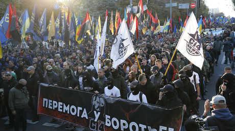 مسيرة القوميين الرادكاليين الأوكرانيين في كييف بمناسبة الذكرى الـ76 لتأسيس