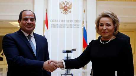 عبد الفتاح السيسي وفالنتينا ماتفيينكو، موسكو، روسيا 16 أكتوبر 2018