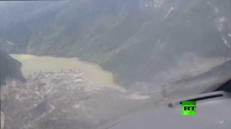 شاهد.. انهيار أرضي يخلق بحيرة في الصين