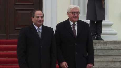 لحظة استقبال الرئيس الألماني شتاينماير لنظيره المصري السيسي