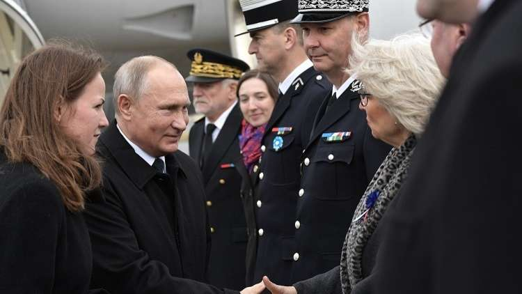 وصول الرئيس بوتين إلى باريس للمشاركة في مئوية انتهاء الحرب العالمية الأولى