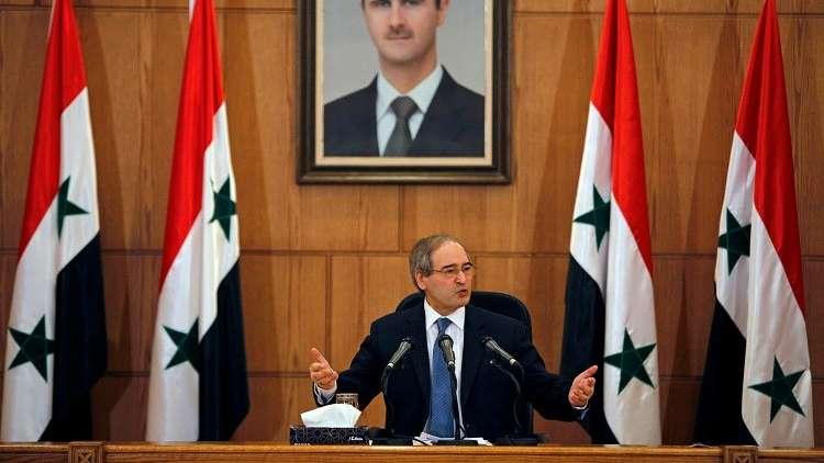 فيصل مقداد في مؤتمر صحفي، دمشق، 3 يوليو 2017