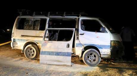 حافلة الأقباط التي تعرضت للهجوم في المنيا بمصر