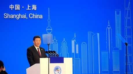 الرئيس الصيني خلال مراسم افتتاح معرض الاستيراد الدولي الأول بشنغهاي، الصين 5 نوفمبر 2018
