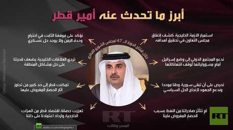 أبرز ما تحدث عنه أمير قطر خلال افتتاح الدورة الـ 47 لمجلس الشورى القطري