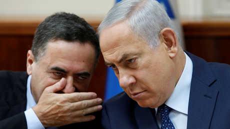 رئيس الوزراء الإسرائيلي، بنيامين نتنياهو، ووزير النقل والاستخبارات الإسرائيلي، يسرائيل كاتس