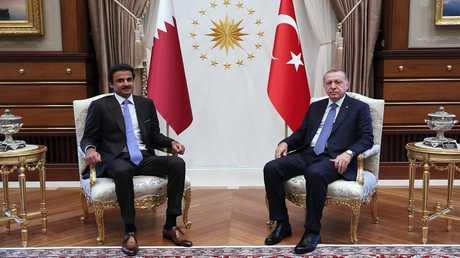 لقاء الرئيس التركي رجب طيب أردوغان مع أمير قطر الشيخ تميم بن حمد آل ثاني (صورة من الأرشيف)