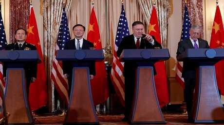 المباحثات الأمريكية الصينية بين مايك بومبيو وجيمس ماتيس وبين يانغ جيتشي ووي فنغ خه