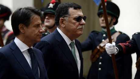 رئيس حكومة الوفاق الوطني الليبي فايز السراج ورئيس وزراء إيطاليا جوزيبي كونتي
