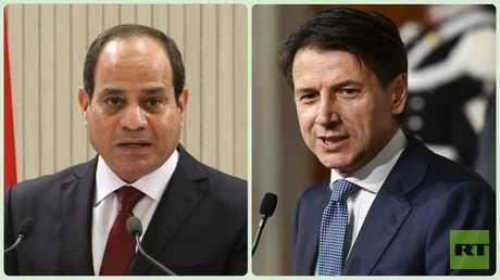 الرئيس المصري عبد الفتاح السيسي ورئيس الوزراء الإيطالي جوزبي كونتي