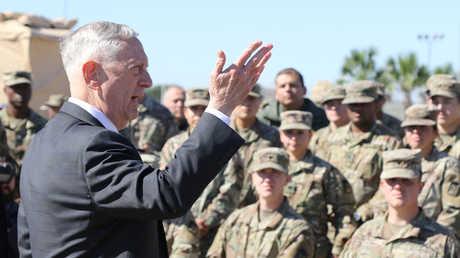 كلمة وزير الدفاع الأمريكي جيمس ماتيس أمام الجنود في قاعدة دونا العسكرية في ولاية تكساس، 14 نوفمبر 2018