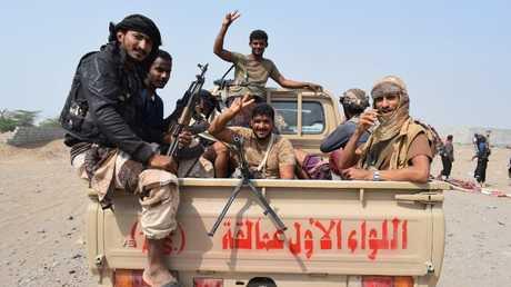 عناصر القوات الموالية للحكومة اليمنية في ضواحي الحديدة