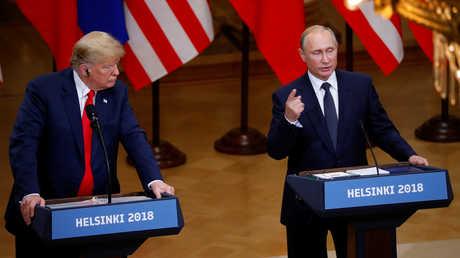 الرئيس الروسي، فلاديمير بوتين، ونظيره الأمريكي، دونالد ترامب، خلال لقائهما في هلسنكي يوم 16 يوليو 2018