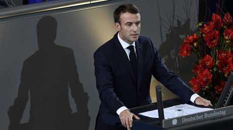 الرئيس الفرنسي إيمانويل ماكرون يلقي كلمته أمام البرلمان الألماني