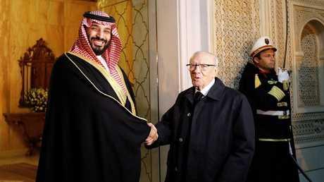 لقاء الرئيس التونسي الباجي قائد السبسي مع ولي العهد السعودي الأمير محمد بن سلمان