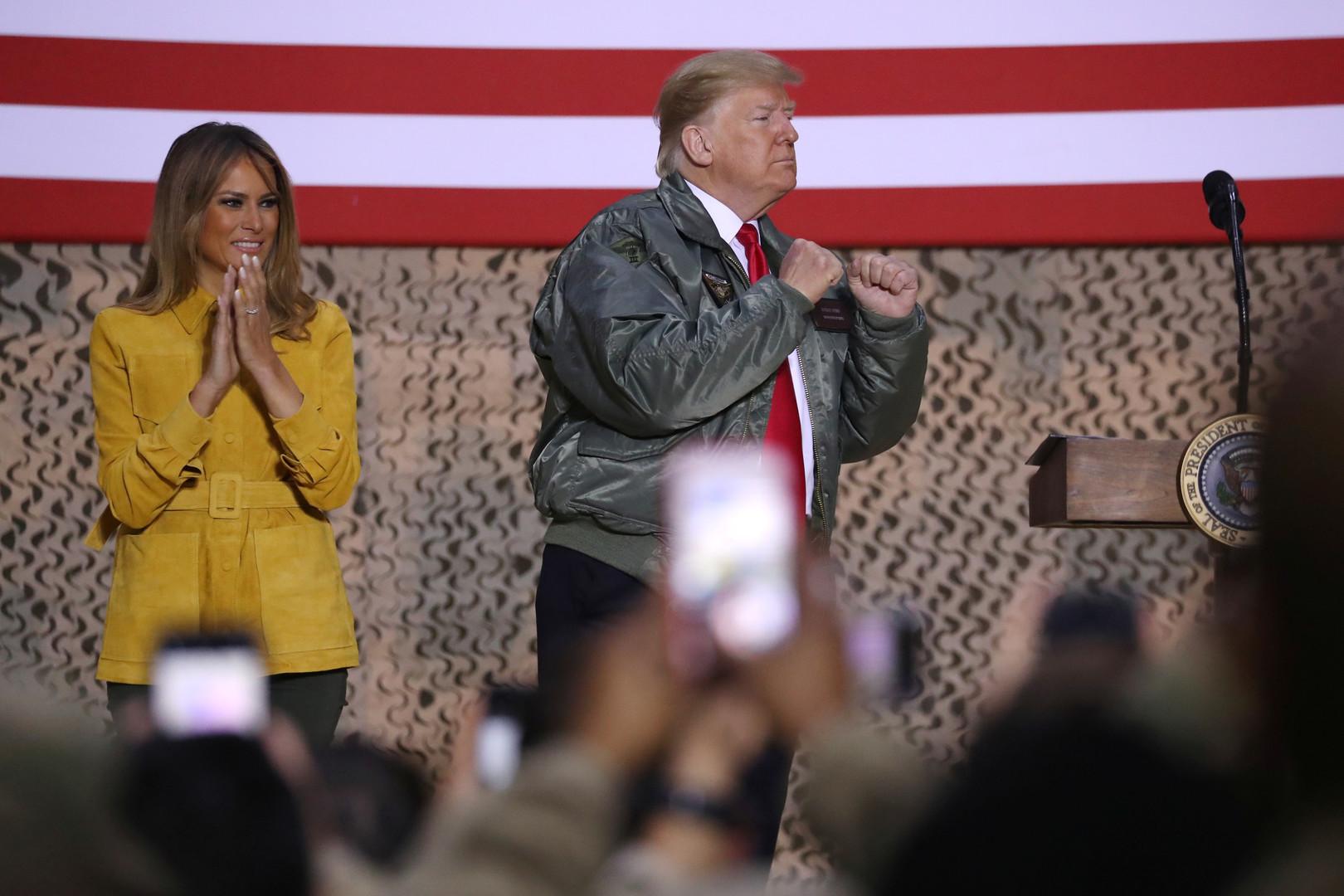 زيارة مفاجئة لترامب وزوجته للقوات الأمريكية في العراق