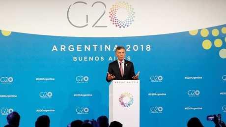 الرئيس الأرجنتيني ماوريسيو ماكري خلال مؤتمره الصحفي في ختام قمة العشرين في بوينس آيرس