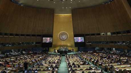 الرئيس الفلسطيني محمود عباس يخاطب الجمعية العامة للأمم المتحدة في سبتمبر 2018