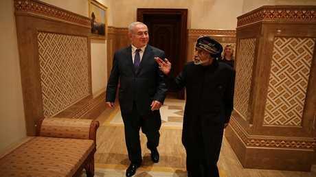 رئيس الوزراء الإسرائيلي بنيامين نتنياهو في ضيافة سلطان عمان السلطان قابوس بن سعيد في مسقط (أكتوبر 2018)
