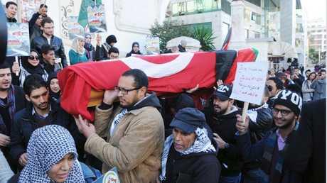 مراسم تشييع محمد الزواري عام 2016 في تونس