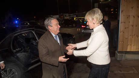 وزيرة الخارجية السويدية مارغوت فالستروم تستقبل الأمين العام للأمم المتحدة أنطونيو غوتيريش