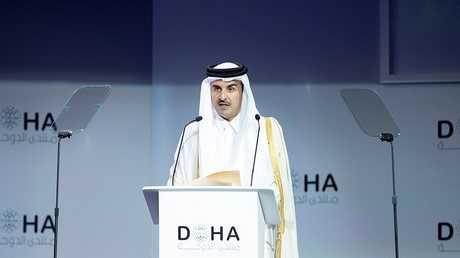 أمير دولة قطر تميم بن حمد آل ثاني يتحدث خلال منتدى الدوحة، قطر، 15 ديسمبر 2018