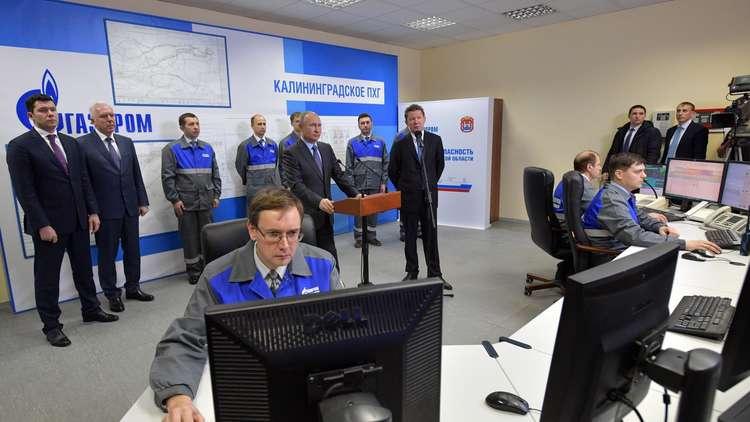 الرئيس الروسي فلاديمير بوتين يحضر مراسم تشغيل أول محطة عائمة للغاز الطبيعي المسال في مقاطعة كالينينغراد