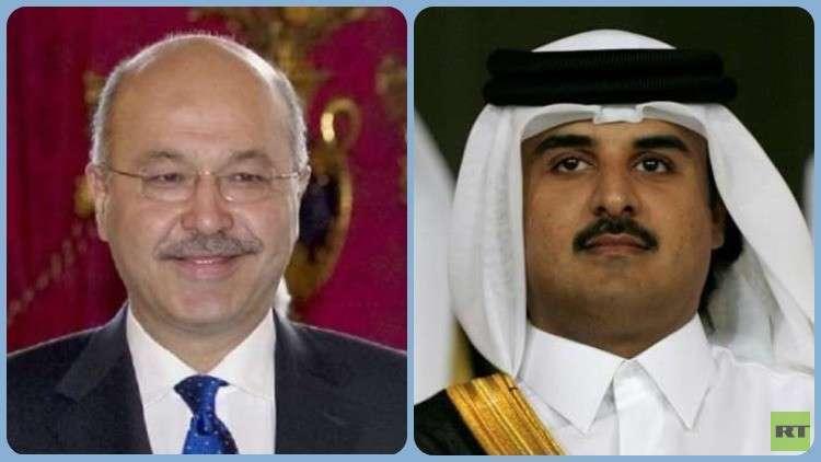 الرئيس العراقي يصل قطر للقاء أميرها
