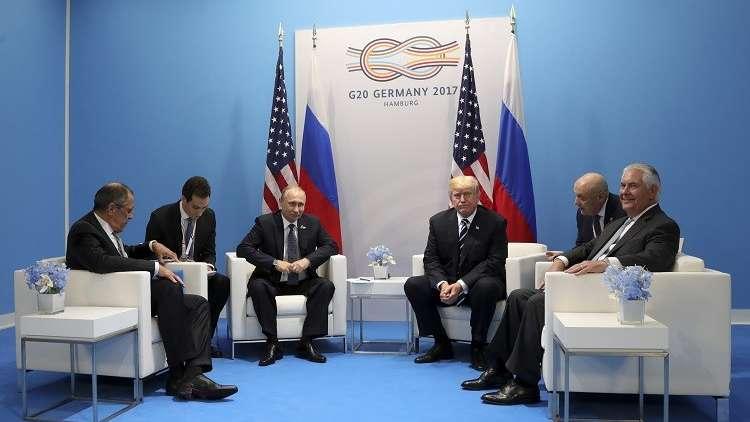 بوتين، ترامب، لافروف، تيلرسون، اجتماع على هامش قمة G20، هامبورغ، ألمانيا 7 يوليو 2017